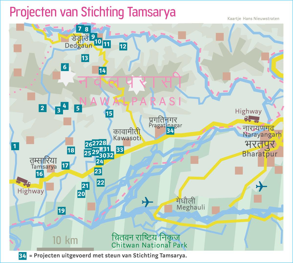 De gele stippen op de kaart geven de locaties van de projecten aan.